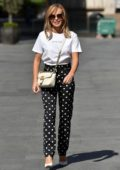 Amanda Holden dons polka dot pants as she leaves Global Radio Studios in London, UK