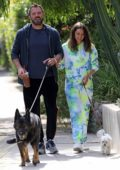 Ana de Armas and Ben Affleck are all smiles while out walking their dogs in Venice, California