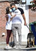 Ana de Armas and Ben Affleck pack on some PDA while out walking their dogs in Venice, California
