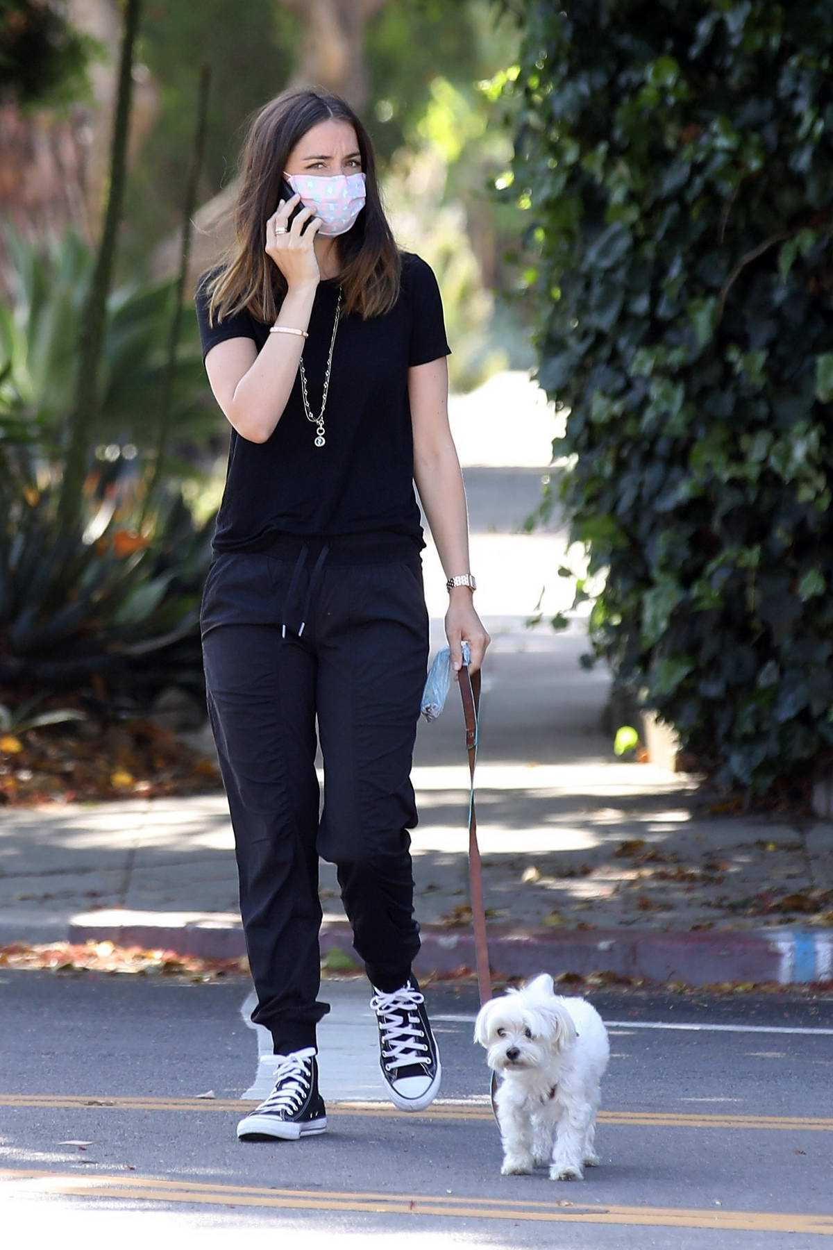 Ana de Armas dresses in all-black while walking her dog early in the morning in Venice, California