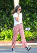 Ana de Armas goes casual cool as she chats on her phone while walking her dog in Venice Beach, California