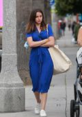 Ana de Armas looks great in a blue dress while out shopping with a friend in Venice Beach, California