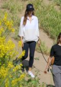 Angela Sarafyan and Alicia Silverstone enjoy a hike in the hills with their dogs in Studio City, California