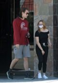 Ariel Winter stops by Skin Matrx salon with boyfriend Luke Benward in Burbank, California