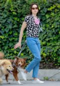 Aubrey Plaza and Jeff Baena take their two dogs out for their walk in Los Feliz, California