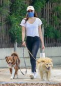 Aubrey Plaza stops by the the Pet Store while walking her dogs in Los Angeles