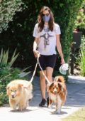 Aubrey Plaza wears 'David Bowie' tee and legging shorts while out to walk her dogs in Los Feliz, California
