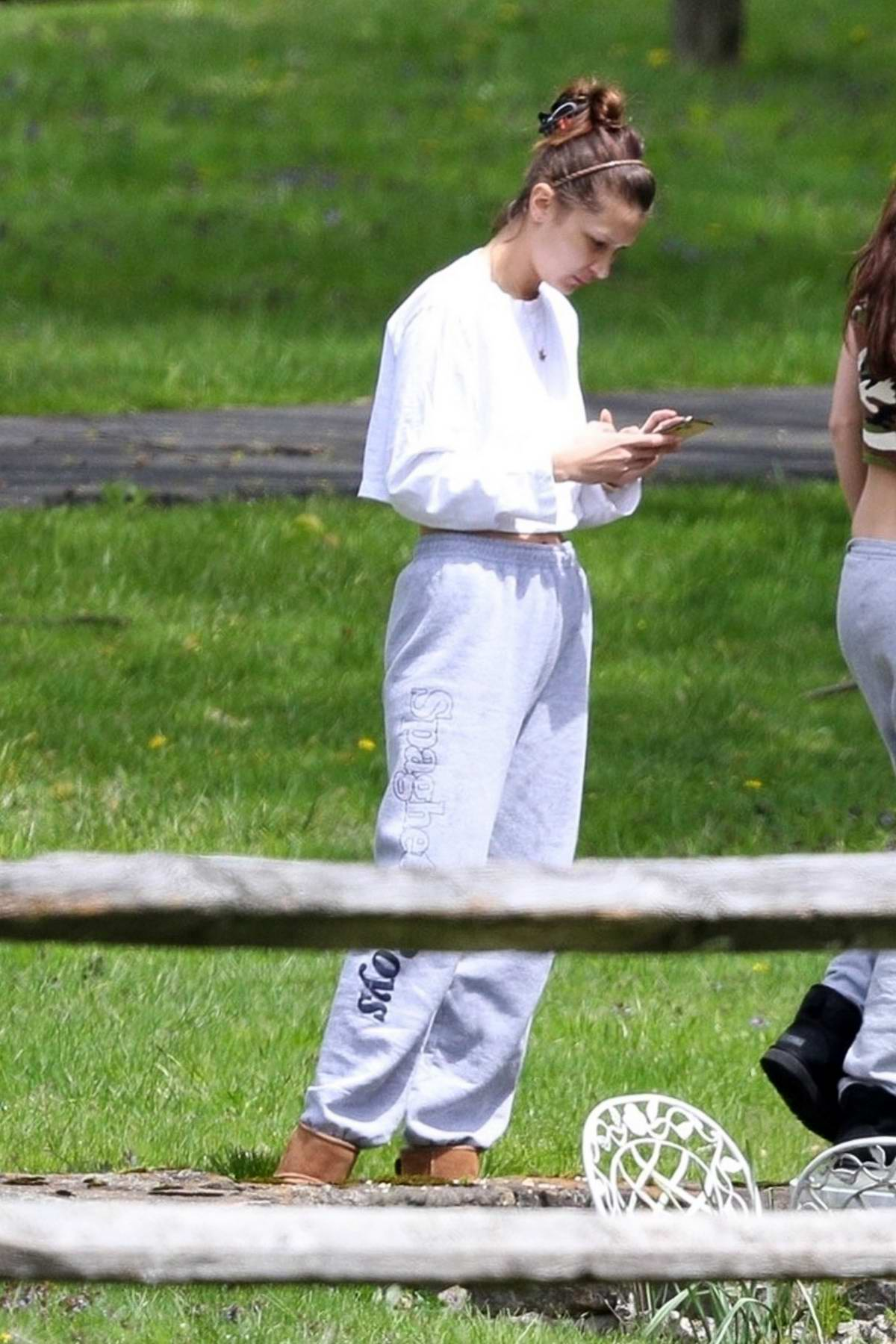Bella Hadid enjoys the fresh air with a friend at her family farm in New Hope, Pennsylvania