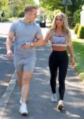 Bianca Gascoigne and Kris Boyson hold hands as they step out for a walk in Gravesend, Kent, UK