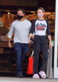 Brie Larson and boyfriend Elijah Allan-Blitz pick up some groceries at a health food store in Los Angeles