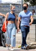 Brie Larson shows off her toned abs in a crop top while out shopping with Elijah Allan-Blitz in Malibu, California