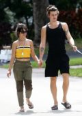Camila Cabello steps out to walk her dog with Shawn Mendes in Miami, Florida