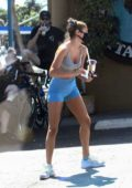 Chantel Jeffries sports a crop top and shorts as she grabs a juice at Earthbar in West Hollywood, California