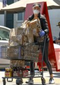 Charlize Theron seen leaving Bristol Farms with a cart full of groceries in West Hollywood, California