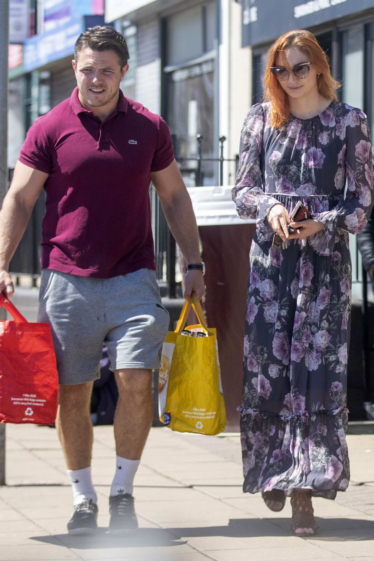Eleanor Tomlinson steps out for some shopping with new boyfriend Will Owen at a local Co-op in Coventry, UK