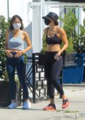 Elisabetta Canalis shows off her abs in a crop top and leggings as she steps out for a walk in West Hollywood, California
