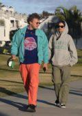 Emily Ratajkowski visits the beach with her Sebastian Bear-McClard to walk their dog in Venice, California
