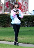 Emma Roberts gets in a FaceTime on walk to get coffee in Los Feliz, California
