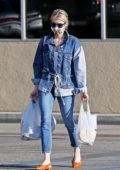 Emma Roberts steps out in double denim for a grocery run in Los Angeles
