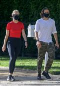 Gwyneth Paltrow steps out for an afternoon stroll with husband Brad Falchuk in Pacific Palisades, California
