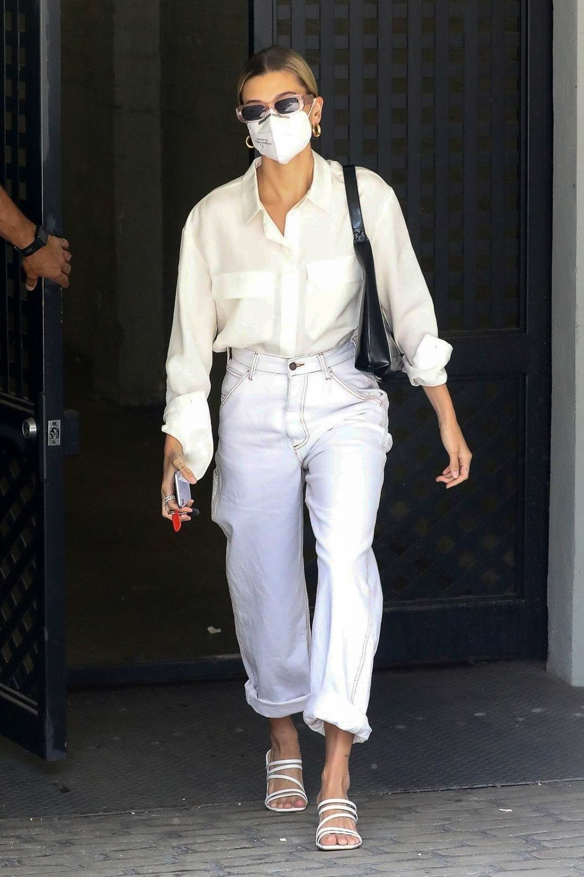 Hailey Bieber dons all-white for a business meeting in Los Angeles
