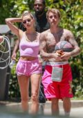 Hailey Bieber looks pretty in pink as she steps out for coffee with Justin Bieber in Beverly Hills, California