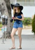 Heather Graham flaunts her legs in denim shorts while out with a mystery man in Santa Monica, California