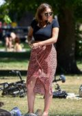 Imogen Thomas enjoys a picnic at her local park with a friend in Chelsea, London, UK