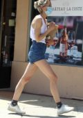 Jaime King seen wearing a tank top and denim short while out to stock up on some liquor in Beverly Hills, California
