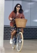 Jenna Coleman gets a bicycle for her 34th birthday from boyfriend Tom Hughes in London, UK