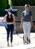Jordana Brewster heads out for a walk with a friend in Los Angeles