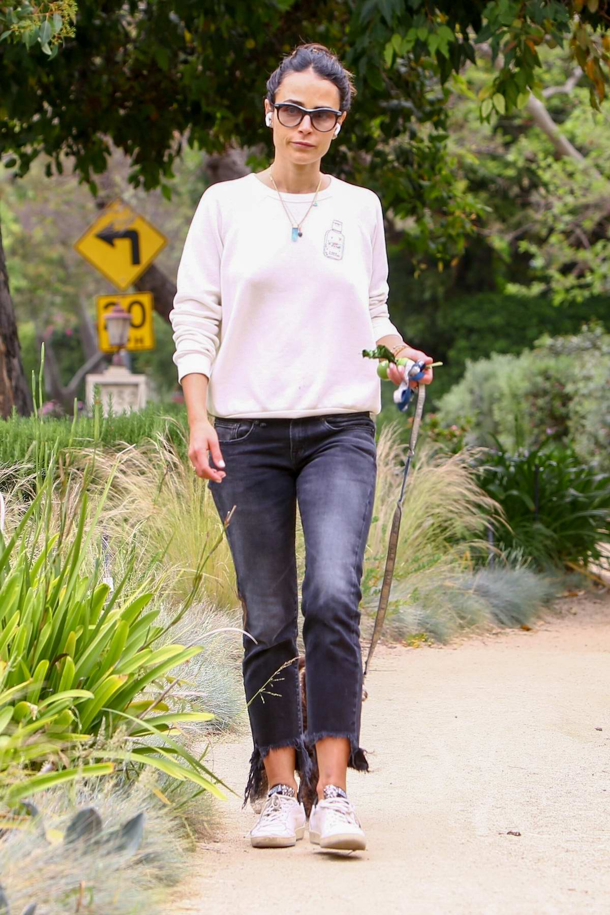 Jordana Brewster steps out for a walk with her dog in Los Angeles