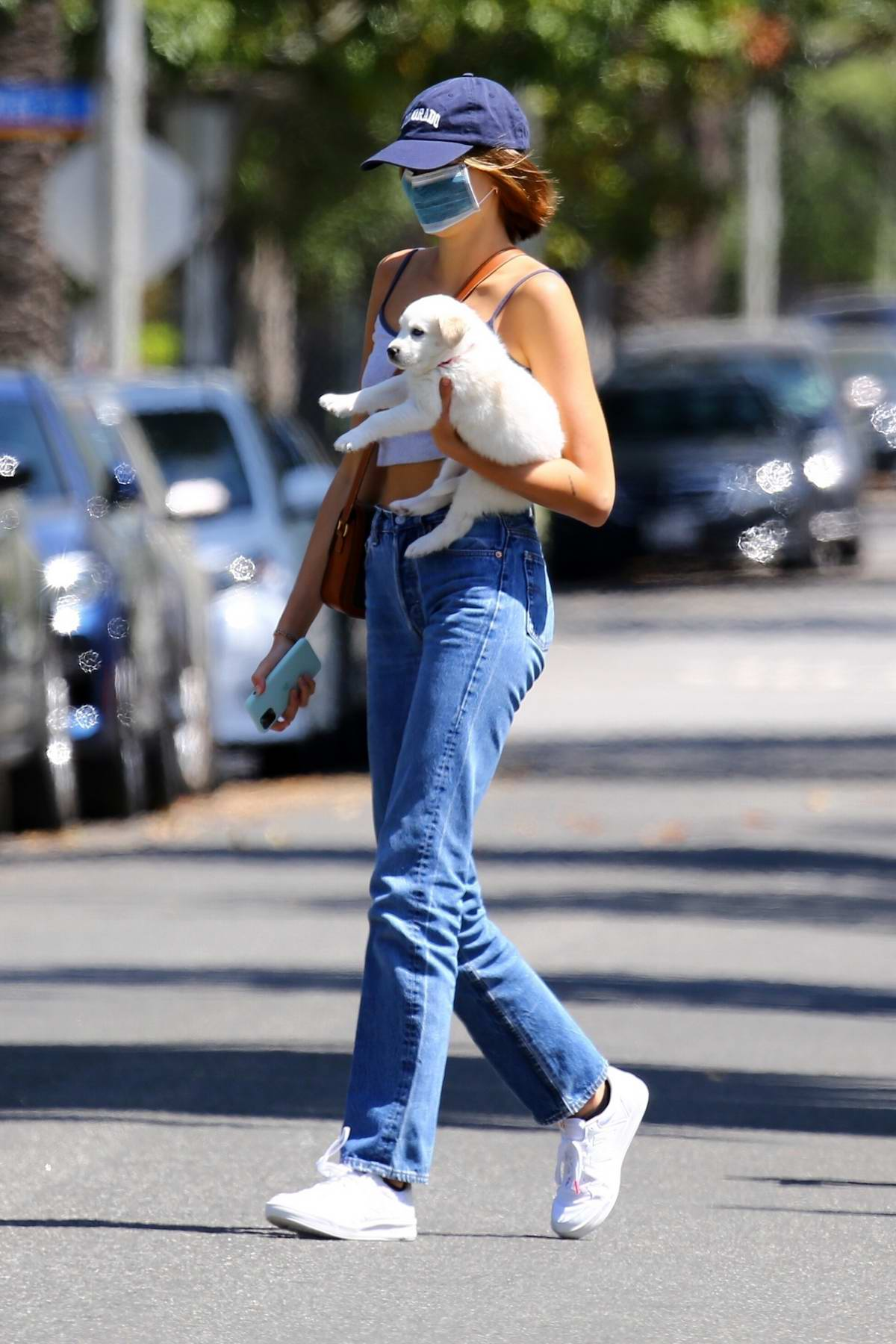 Kaia Gerber and Cindy Crawford seen out with their foster pup in Santa Monica, California