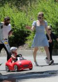 Kate Mara and Jamie Bell enjoy some quality family time while out for a walk with the kids in Los Angeles