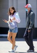 Katharine McPhee rocks denim shorts as she steps out for a stroll with David Foster in Los Angeles