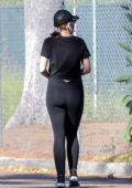 Katherine Schwarzenegger dressed in all-black as she steps out for a morning walk in Santa Monica, California