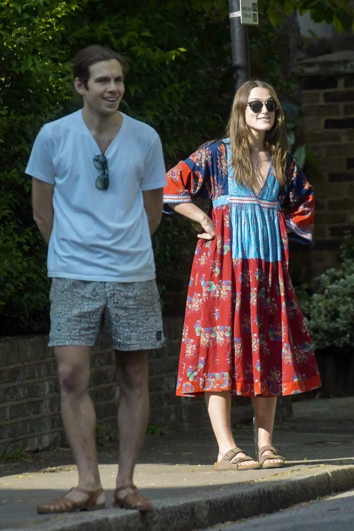 Keira Knightley spotted while celebration VE Day with her family and neighbors in London, UK