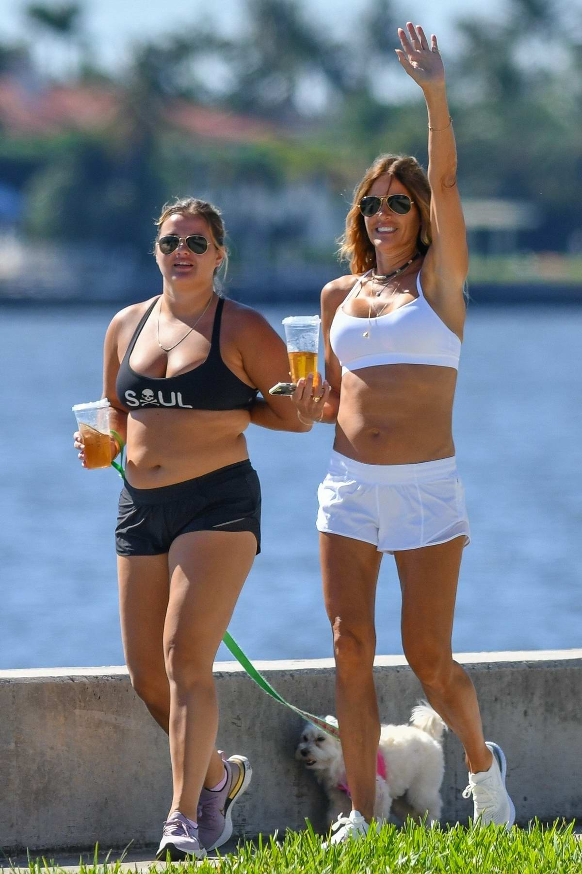 Kelly Bensimon enjoys a walk with her daughter while on lockdown in Palm Beach, Florida