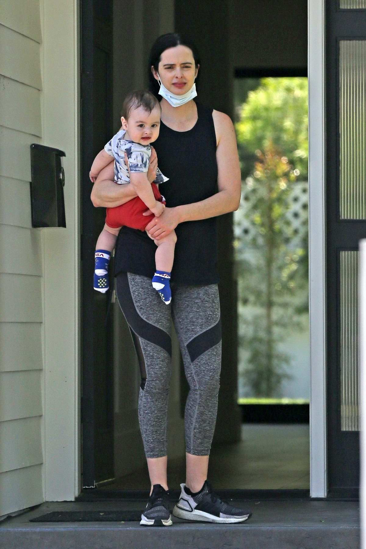 Krysten Ritter seen enjoying the weather with her son in Los Angeles