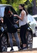 Lea Michele steps out for some fresh air with husband Zandy Reich and her mom in Santa Monica, California