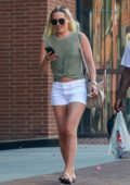 Lindsey Vonn rocks a pair of white denim shorts as she stops by at Rite Aid with P.K. Subban in Beverly Hills, California