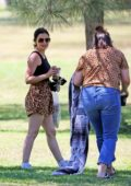Lucy Hale gets together with a girlfriend for a little picnic at the park in Studio City, California