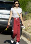 Lucy Hale goes for a walk with her dog during quarantine in Los Angeles