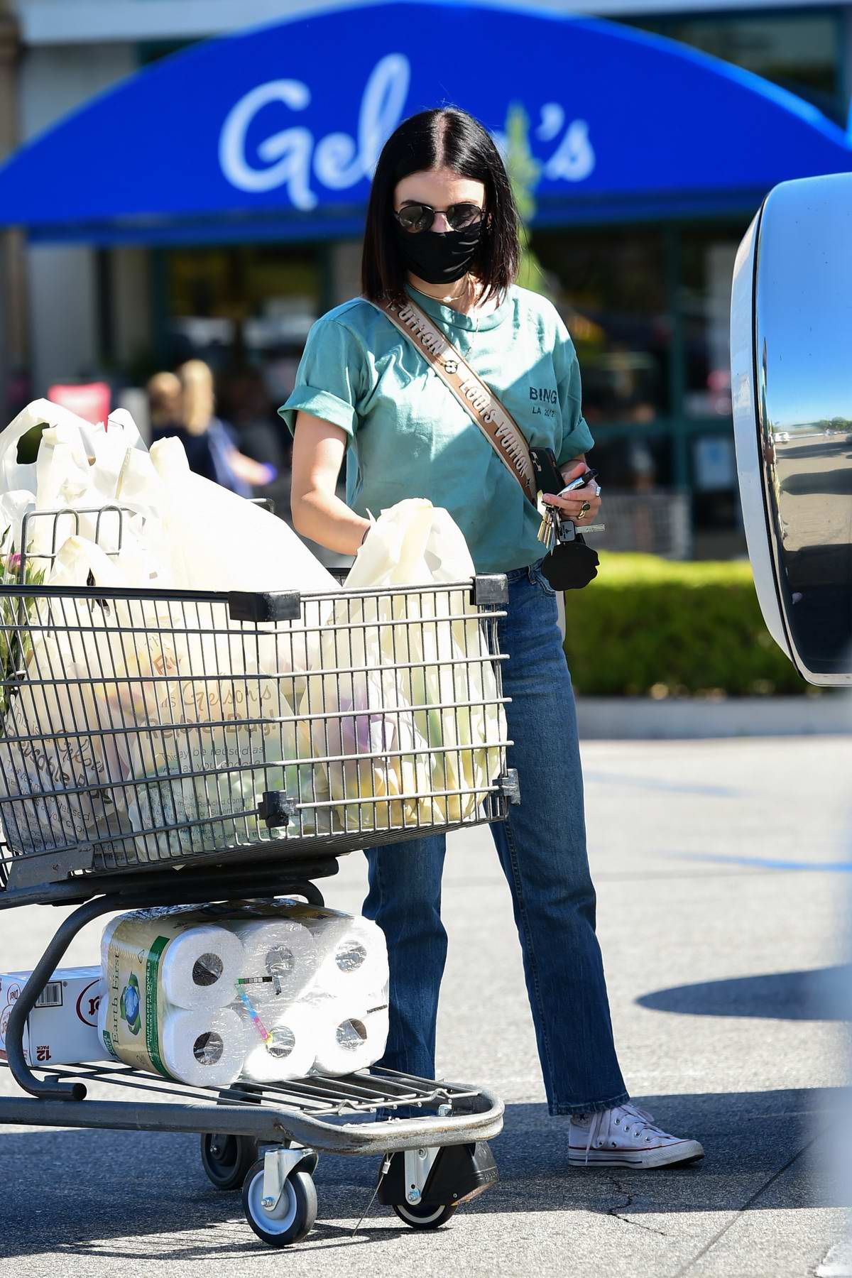 Lucy Hale goes shopping ahead of Memorial Day as she gets a trolley full of groceries at Gelson's in Los Angeles