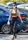 Lucy Hale rocks a crop top and leggings as she steps out for a solo hike in Studio City, California