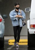 Lucy Hale sports a denim jacket and leggings as she heads for an appointment on a rainy day in Los Angeles