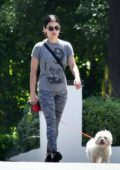 Lucy Hale sports all-grey as she takes her pup Elvis for his daily walk in Los Angeles