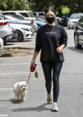 Lucy Hale wears all-black as she steps out to walk her dog in Studio City, California