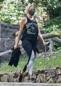 Malin Akerman wears a tank top and leggings as she walks her dog in Los Feliz, California