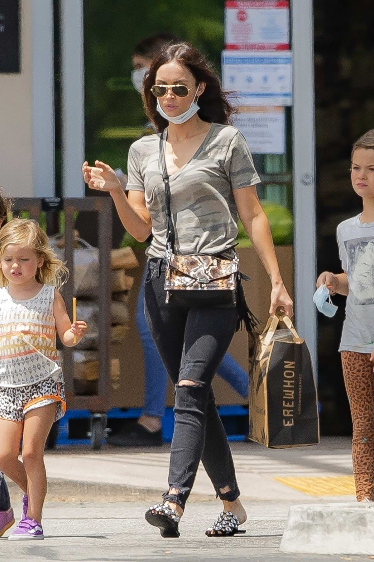 Megan Fox seen picking up lunch with the kids at Erehwon Organic in Calabasas, California